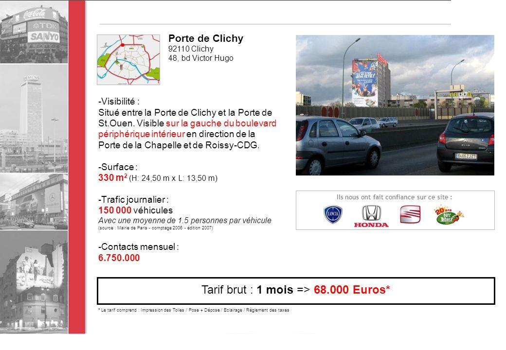 -Visibilité : Situé entre la Porte de Clichy et la Porte de St.Ouen.