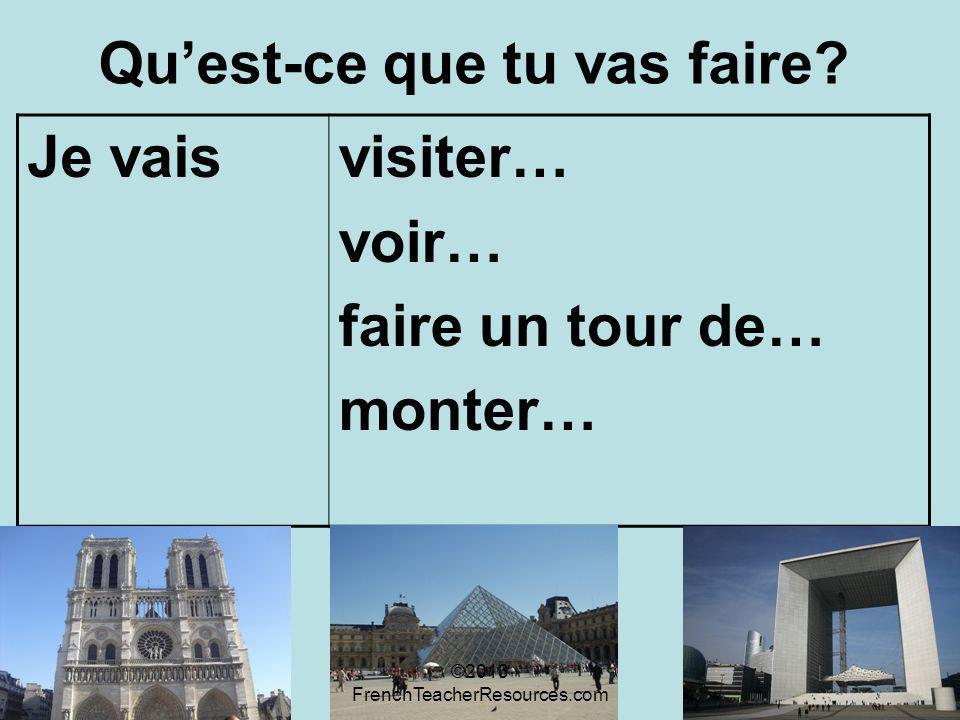 Quest-ce que tu vas faire? Je vaisvisiter… voir… faire un tour de… monter… ©2013 FrenchTeacherResources.com
