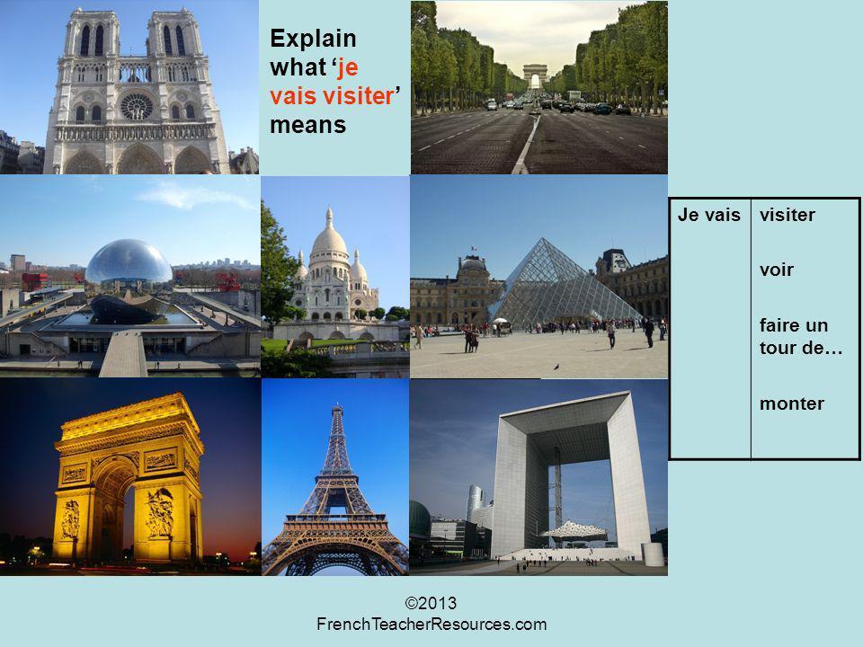 Explain what je vais visiter means Je vaisvisiter voir faire un tour de… monter ©2013 FrenchTeacherResources.com