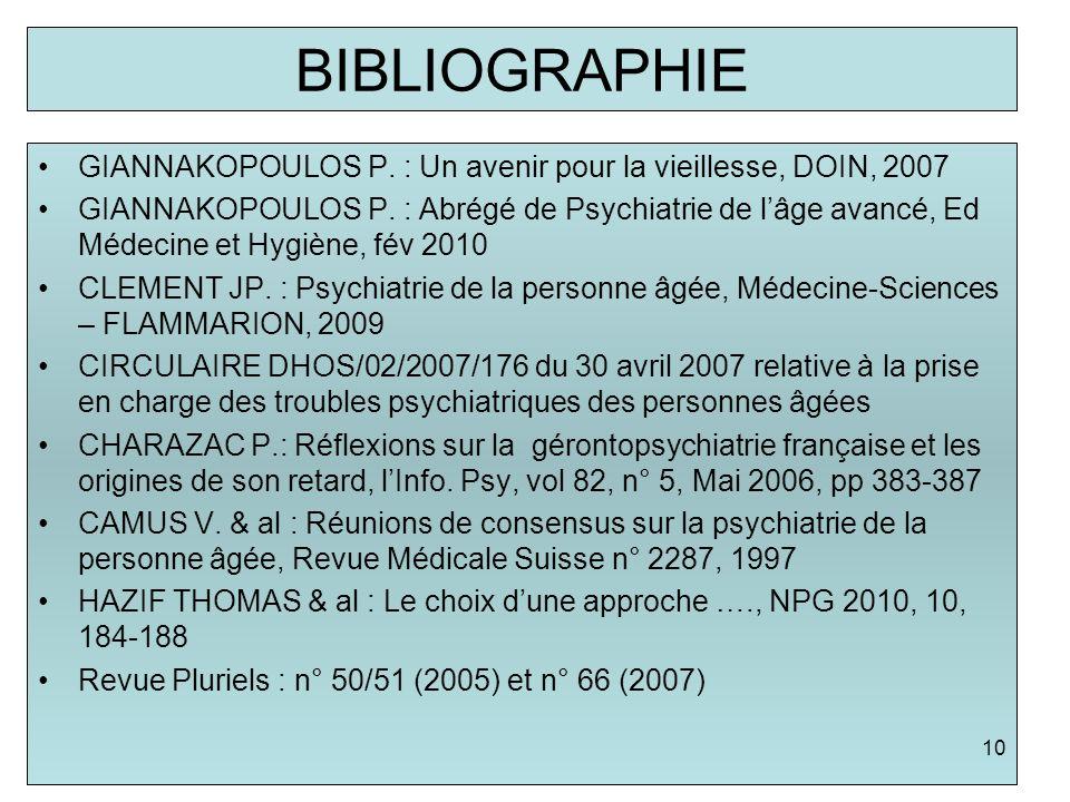 BIBLIOGRAPHIE GIANNAKOPOULOS P. : Un avenir pour la vieillesse, DOIN, 2007 GIANNAKOPOULOS P. : Abrégé de Psychiatrie de lâge avancé, Ed Médecine et Hy