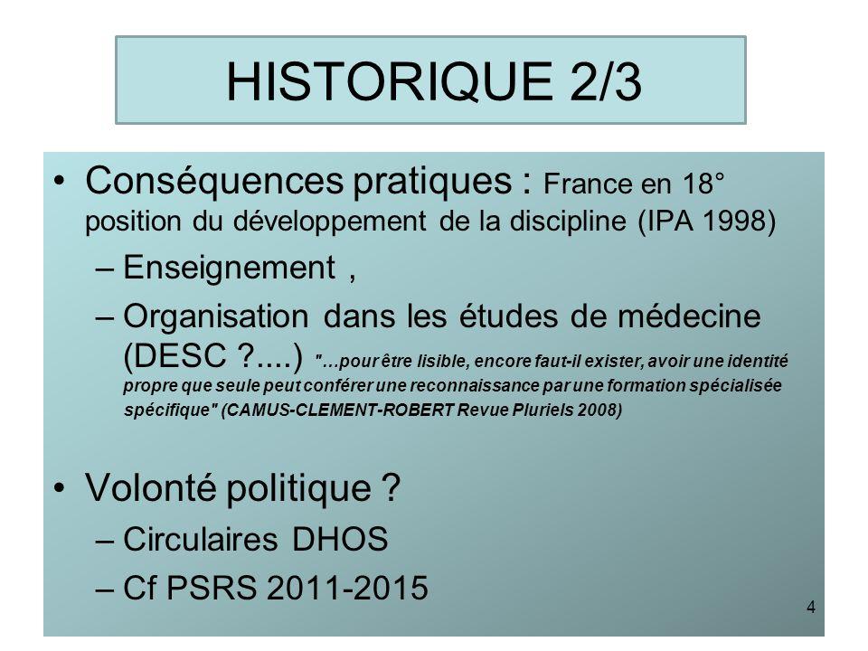 HISTORIQUE 2/3 Conséquences pratiques : France en 18° position du développement de la discipline (IPA 1998) –Enseignement, –Organisation dans les étud