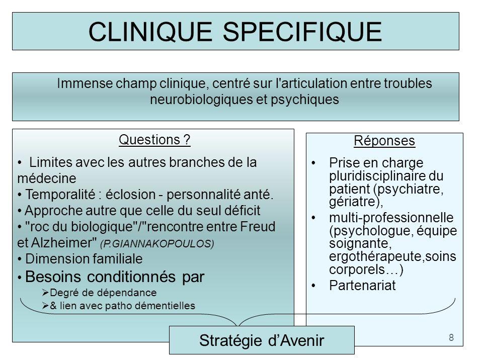 CLINIQUE SPECIFIQUE Immense champ clinique, centré sur l'articulation entre troubles neurobiologiques et psychiques 8 Questions ? Limites avec les aut