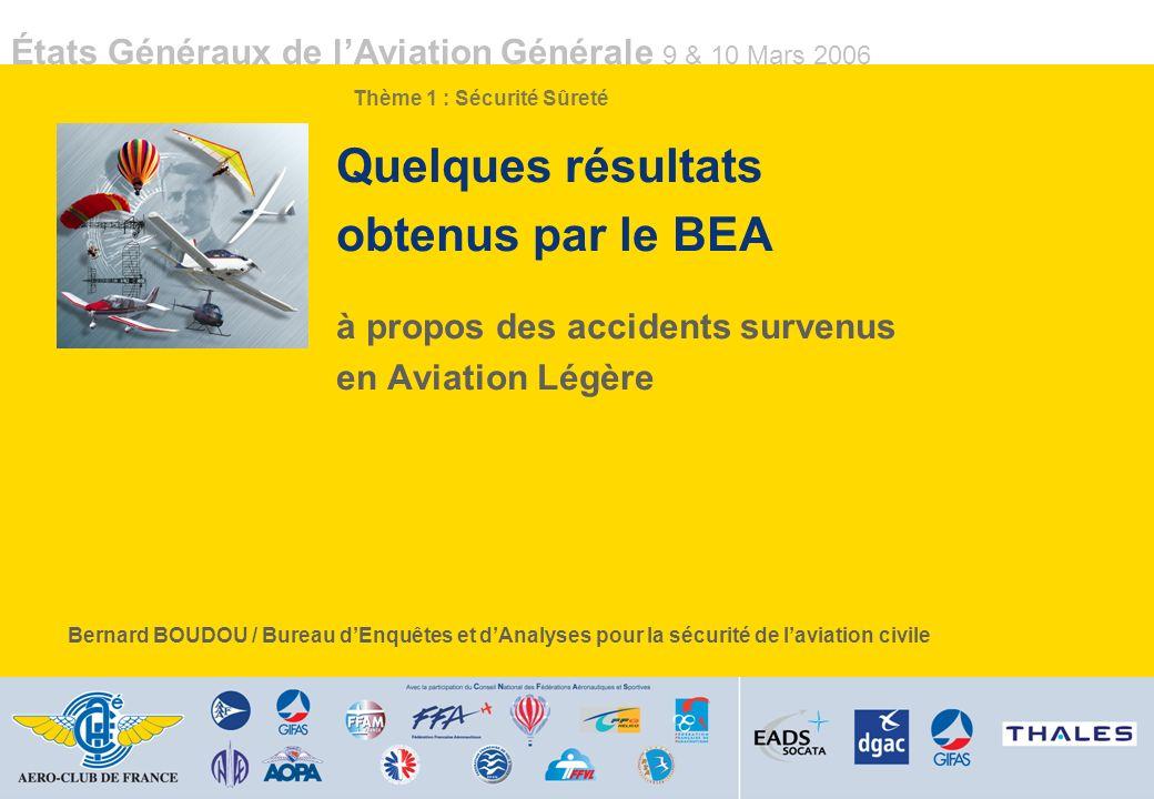 États Généraux de lAviation Générale 9 & 10 Mars 2006 Quelques résultats obtenus par le BEA à propos des accidents survenus en Aviation Légère Bernard