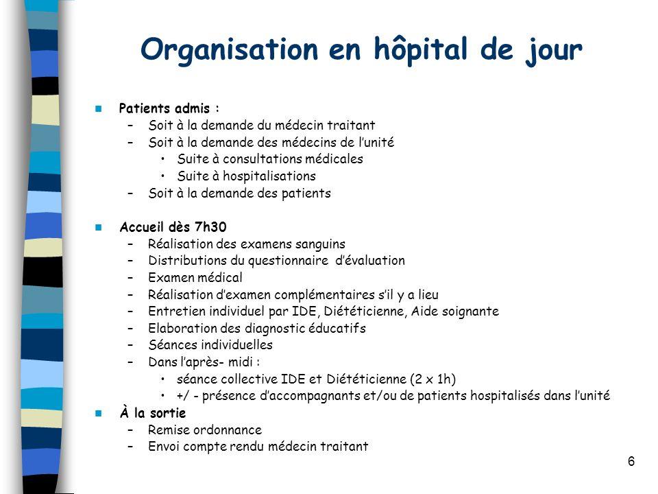 6 Organisation en hôpital de jour Patients admis : –Soit à la demande du médecin traitant –Soit à la demande des médecins de lunité Suite à consultati