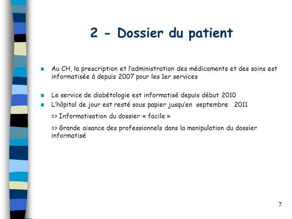 7 2 - Dossier du patient Au CH, la prescription et ladministration des médicaments et des soins est informatisée à depuis 2007 pour les 1er services L