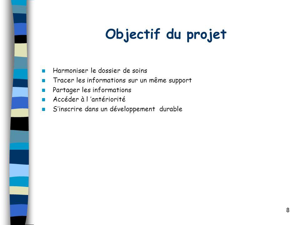 8 Objectif du projet Harmoniser le dossier de soins Tracer les informations sur un même support Partager les informations Accéder à l antériorité Sins
