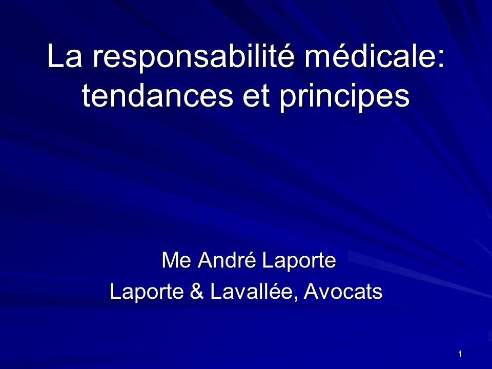 1 La responsabilité médicale: tendances et principes Me André Laporte Me André Laporte Laporte & Lavallée, Avocats