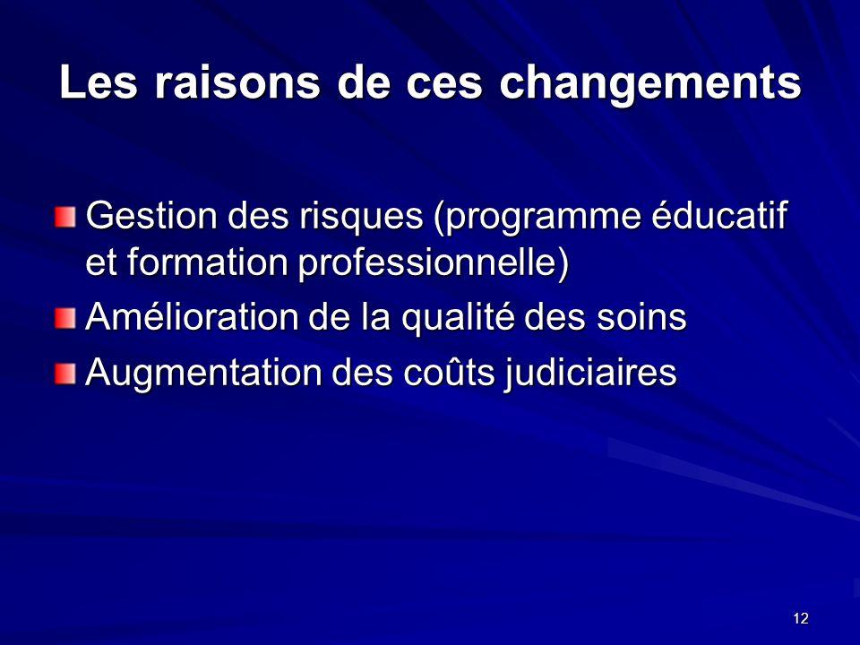 12 Les raisons de ces changements Gestion des risques (programme éducatif et formation professionnelle) Amélioration de la qualité des soins Augmentat