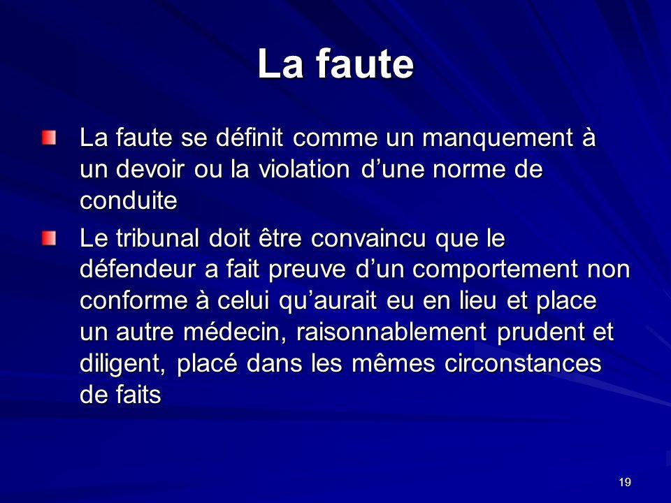 19 La faute La faute se définit comme un manquement à un devoir ou la violation dune norme de conduite Le tribunal doit être convaincu que le défendeu