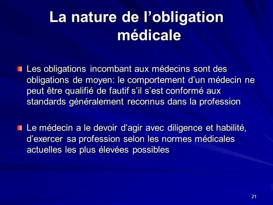 21 La nature de lobligation médicale Les obligations incombant aux médecins sont des obligations de moyen: le comportement dun médecin ne peut être qu