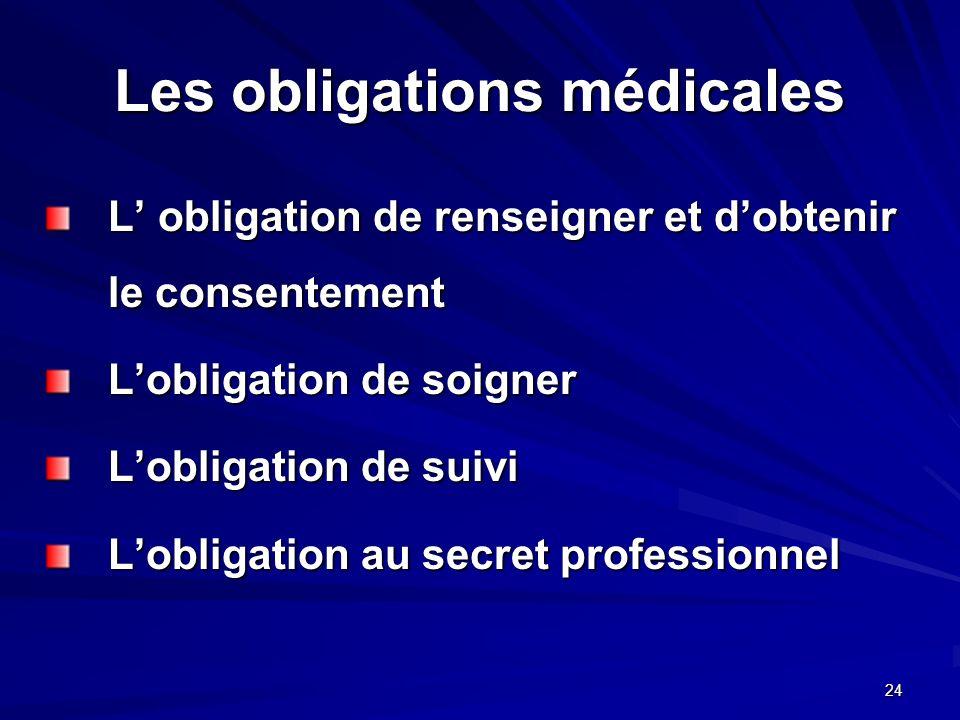 24 Les obligations médicales L obligation de renseigner et dobtenir le consentement Lobligation de soigner Lobligation de suivi Lobligation au secret