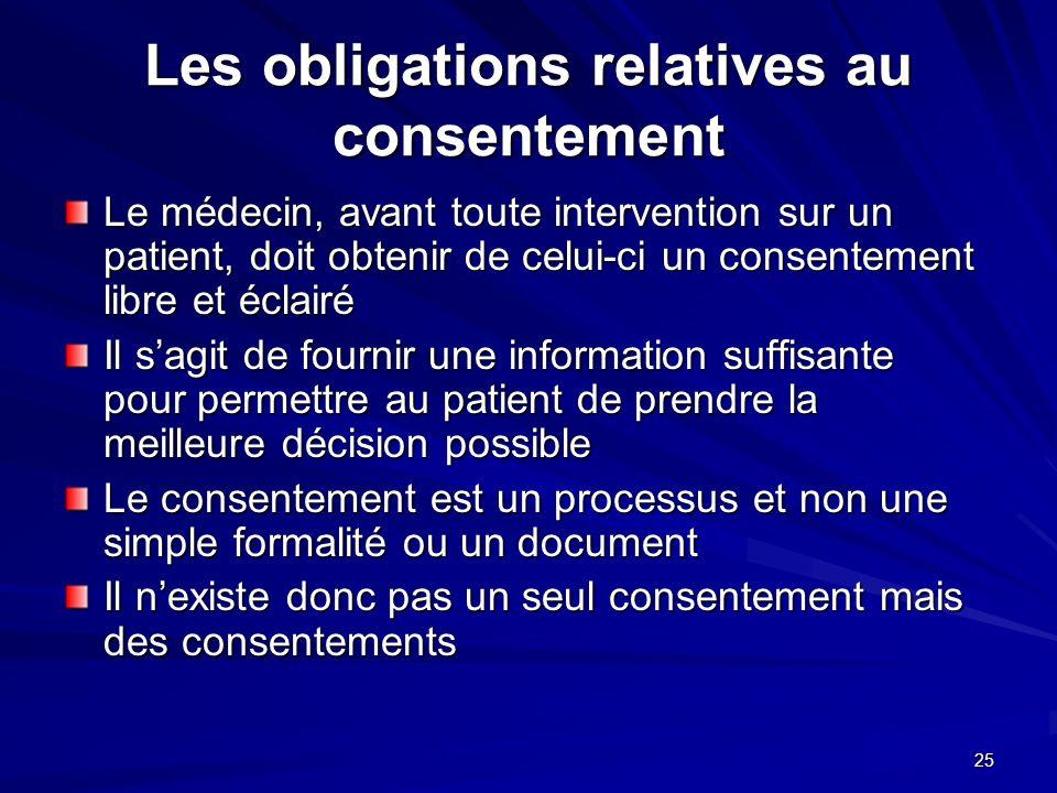 25 Les obligations relatives au consentement Le médecin, avant toute intervention sur un patient, doit obtenir de celui-ci un consentement libre et éc