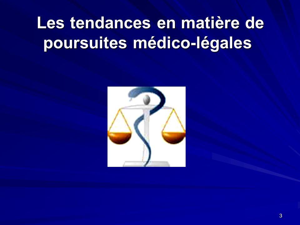 3 Les tendances en matière de poursuites médico-légales Les tendances en matière de poursuites médico-légales