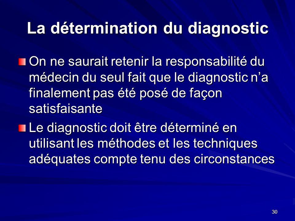 30 La détermination du diagnostic On ne saurait retenir la responsabilité du médecin du seul fait que le diagnostic na finalement pas été posé de faço