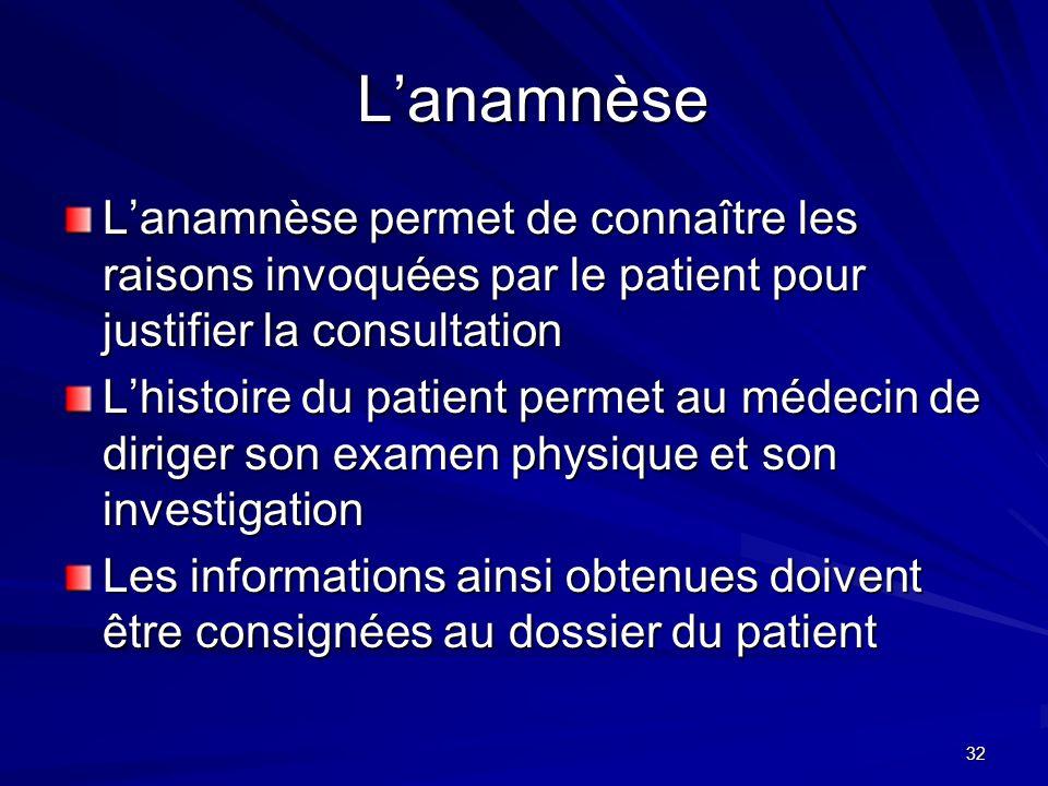32 Lanamnèse Lanamnèse Lanamnèse permet de connaître les raisons invoquées par le patient pour justifier la consultation Lhistoire du patient permet a