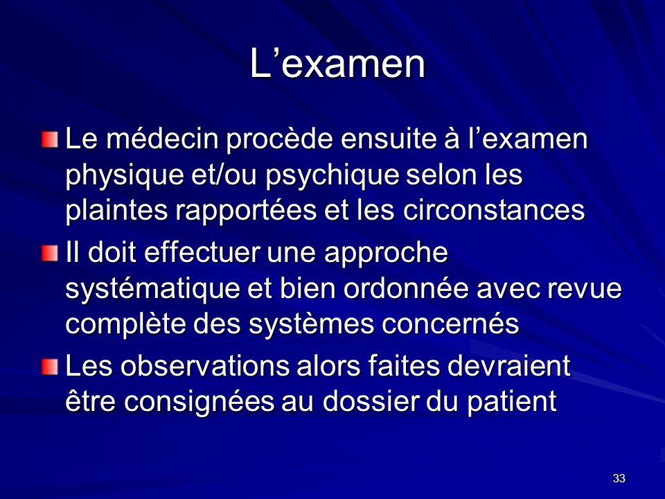 33 Lexamen Lexamen Le médecin procède ensuite à lexamen physique et/ou psychique selon les plaintes rapportées et les circonstances Il doit effectuer