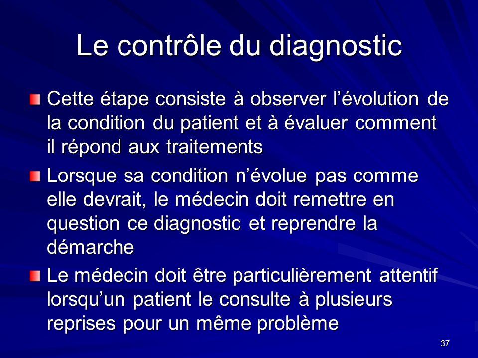 37 Le contrôle du diagnostic Cette étape consiste à observer lévolution de la condition du patient et à évaluer comment il répond aux traitements Lors