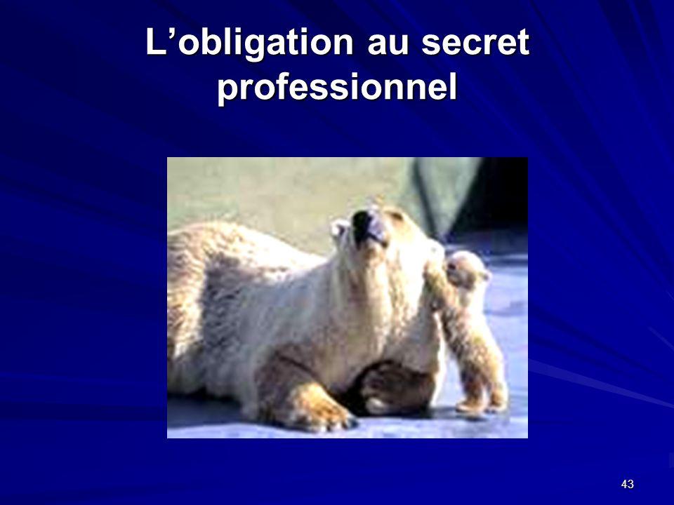 43 Lobligation au secret professionnel