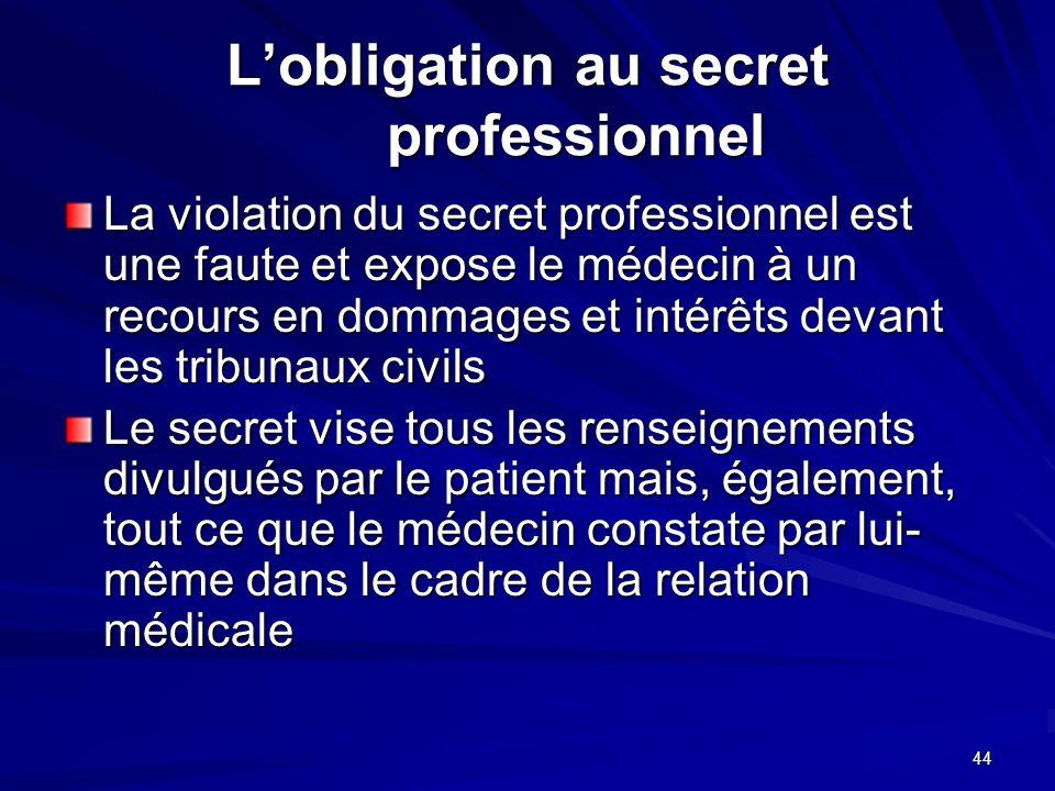 44 Lobligation au secret professionnel La violation du secret professionnel est une faute et expose le médecin à un recours en dommages et intérêts de