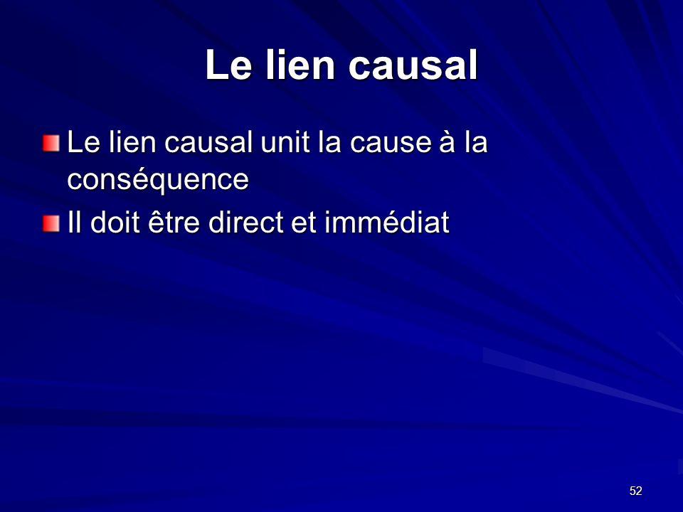 52 Le lien causal Le lien causal unit la cause à la conséquence Il doit être direct et immédiat