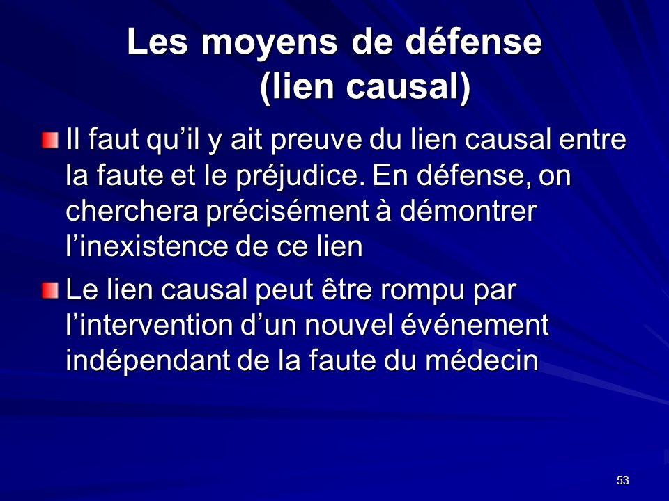 53 Les moyens de défense (lien causal) Il faut quil y ait preuve du lien causal entre la faute et le préjudice. En défense, on cherchera précisément à