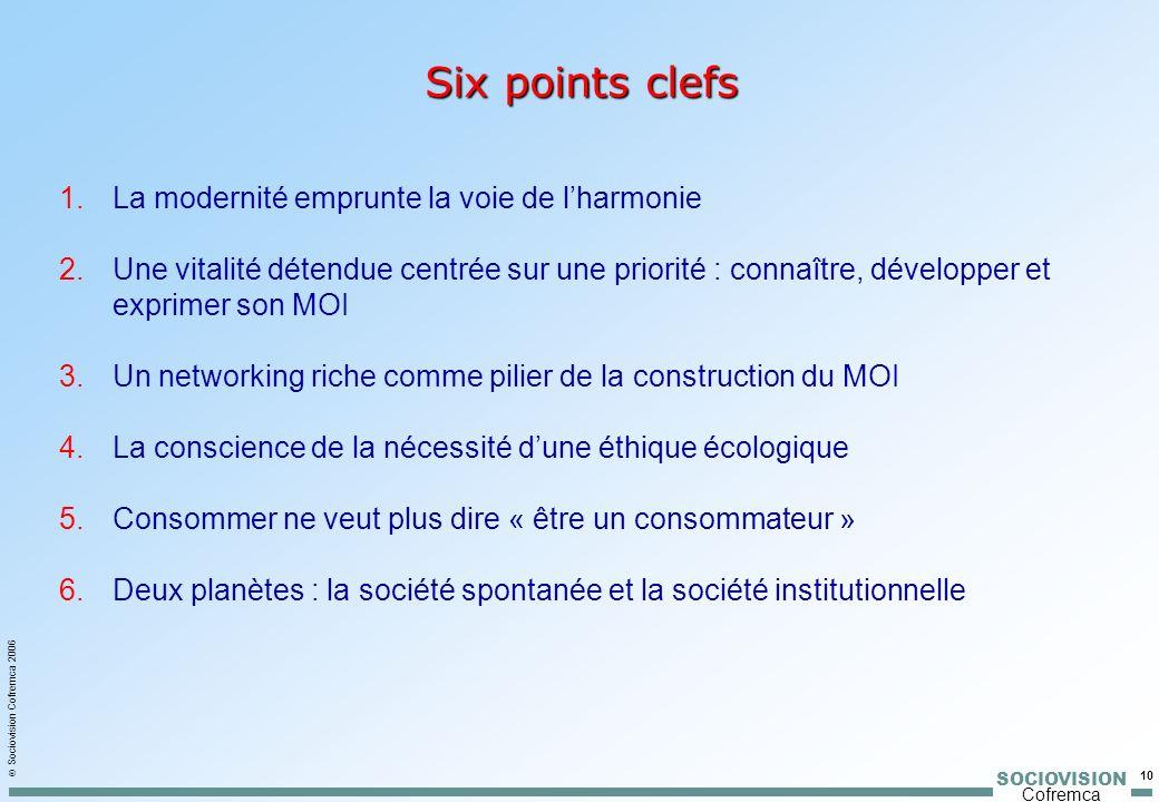 SOCIOVISION Cofremca Sociovision Cofremca 2006 10 Six points clefs 1.La modernité emprunte la voie de lharmonie 2.Une vitalité détendue centrée sur un