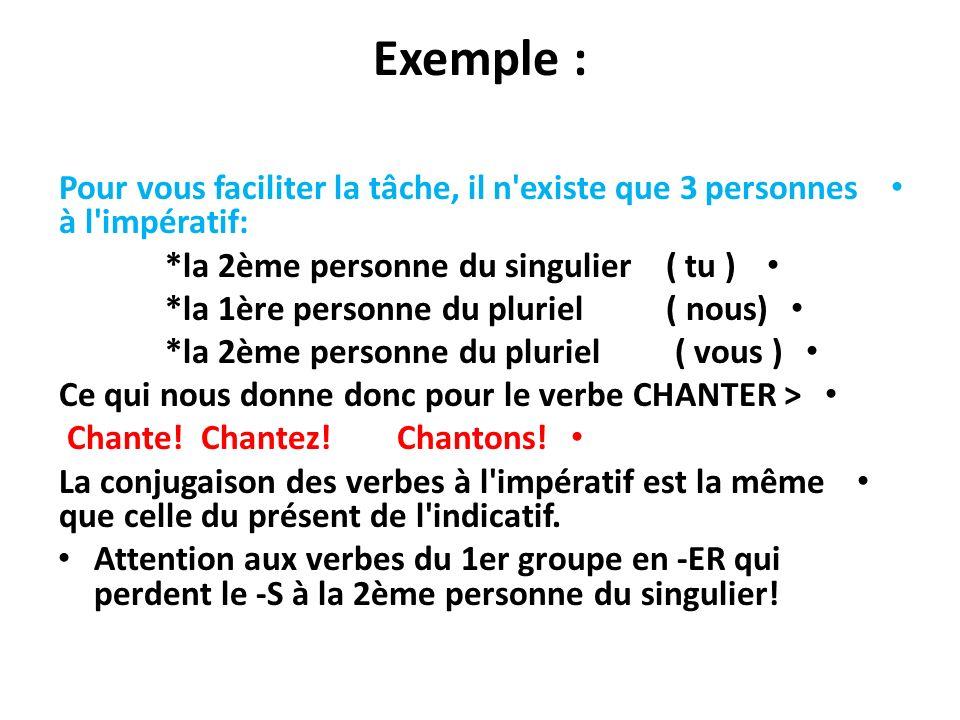 Exemple : Pour vous faciliter la tâche, il n'existe que 3 personnes à l'impératif: *la 2ème personne du singulier ( tu ) *la 1ère personne du pluriel
