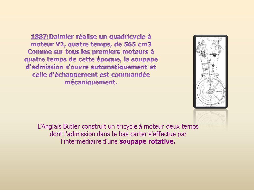 L'Anglais Butler construit un tricycle à moteur deux temps dont l'admission dans le bas carter s'effectue par l'intermédiaire d'une soupape rotative.