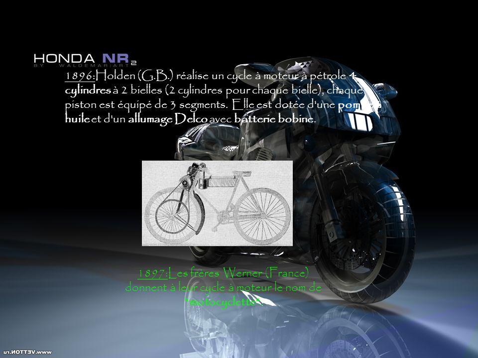 1896:Holden (G.B.) réalise un cycle à moteur à pétrole 4 cylindres à 2 bielles (2 cylindres pour chaque bielle), chaque piston est équipé de 3 segment