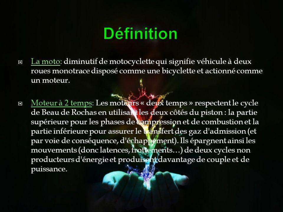 Définition La moto: diminutif de motocyclette qui signifie véhicule à deux roues monotrace disposé comme une bicyclette et actionné comme un moteur. M