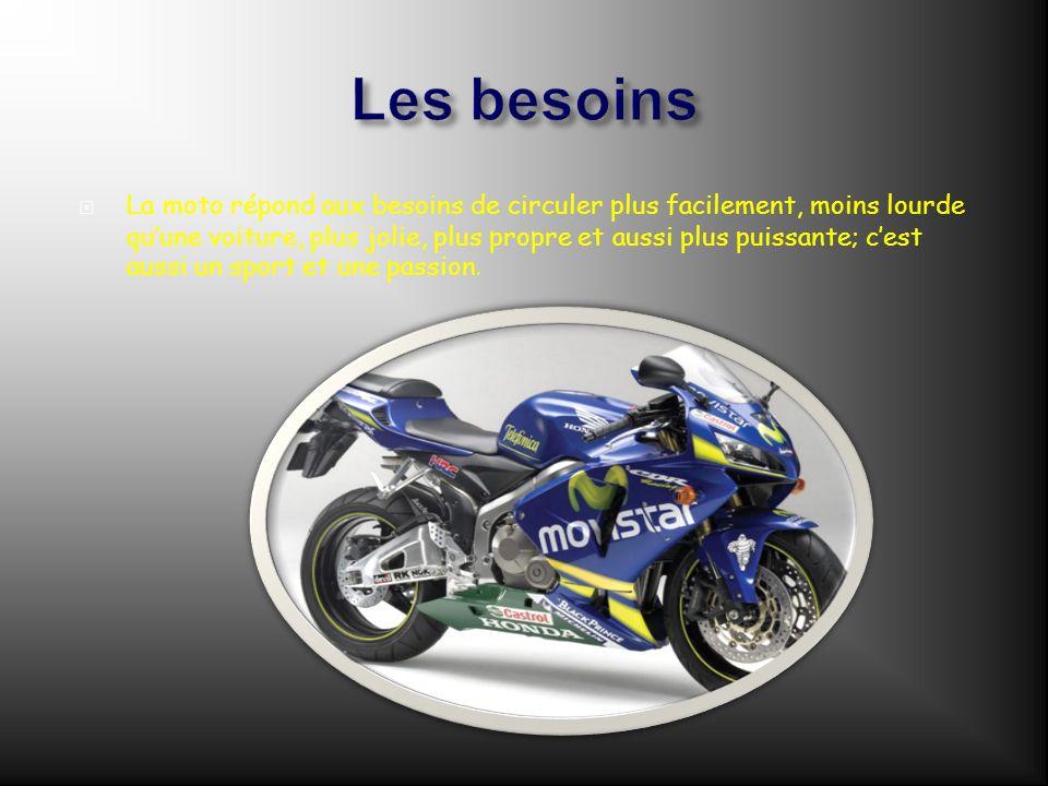 Les besoins La moto répond aux besoins de circuler plus facilement, moins lourde quune voiture, plus jolie, plus propre et aussi plus puissante; cest