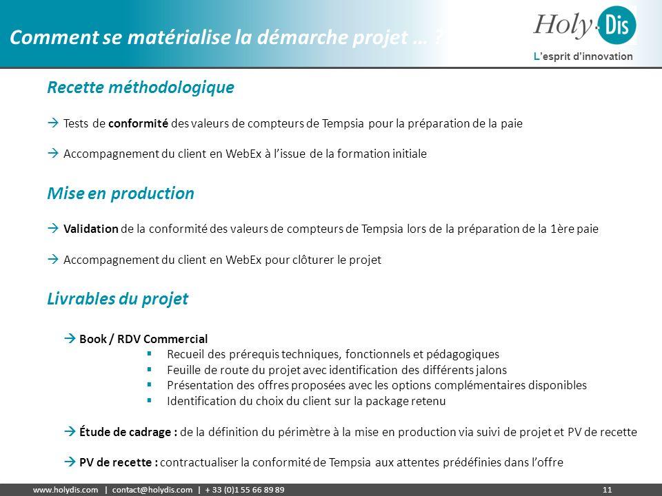Lesprit dinnovation www.holydis.com | contact@holydis.com | + 33 (0)1 55 66 89 8911 Comment se matérialise la démarche projet … ? Recette méthodologiq