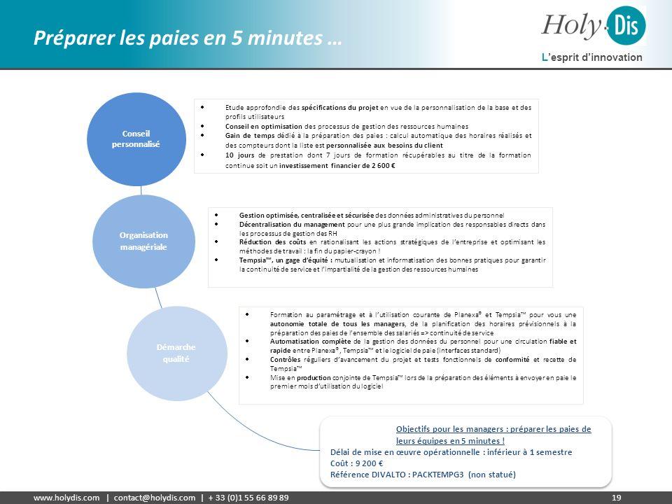 Lesprit dinnovation www.holydis.com | contact@holydis.com | + 33 (0)1 55 66 89 8919 Préparer les paies en 5 minutes … Etude approfondie des spécificat