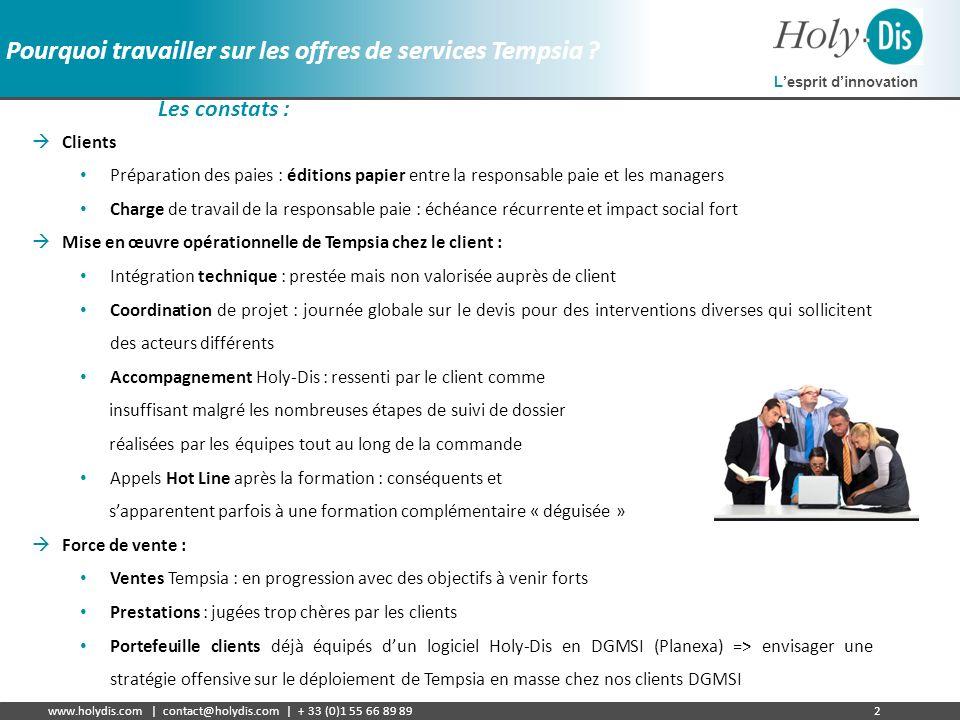Lesprit dinnovation www.holydis.com | contact@holydis.com | + 33 (0)1 55 66 89 892 Pourquoi travailler sur les offres de services Tempsia ? Les consta