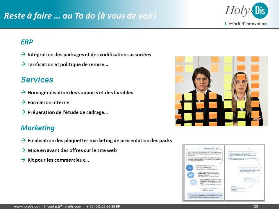 Lesprit dinnovation www.holydis.com | contact@holydis.com | + 33 (0)1 55 66 89 8923 Reste à faire … ou To do (à vous de voir) ERP Intégration des pack