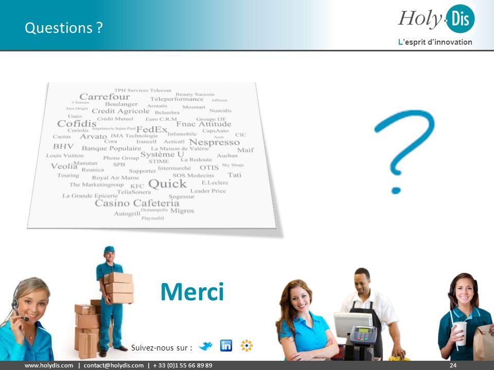 Lesprit dinnovation www.holydis.com | contact@holydis.com | + 33 (0)1 55 66 89 8924 Questions ? Merci Suivez-nous sur :