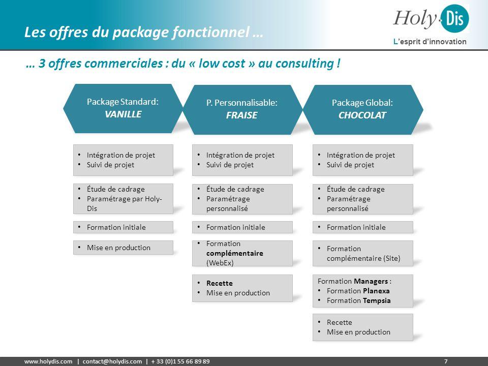 Lesprit dinnovation www.holydis.com | contact@holydis.com | + 33 (0)1 55 66 89 897 Les offres du package fonctionnel … … 3 offres commerciales : du «