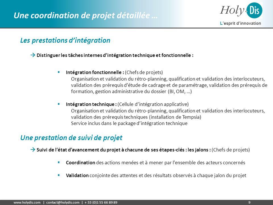 Lesprit dinnovation www.holydis.com | contact@holydis.com | + 33 (0)1 55 66 89 899 Une coordination de projet détaillée … Les prestations dintégration