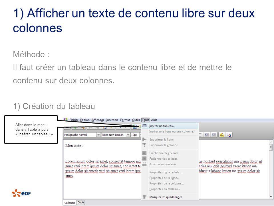 1) Afficher un texte de contenu libre sur deux colonnes Méthode : Il faut créer un tableau dans le contenu libre et de mettre le contenu sur deux colo