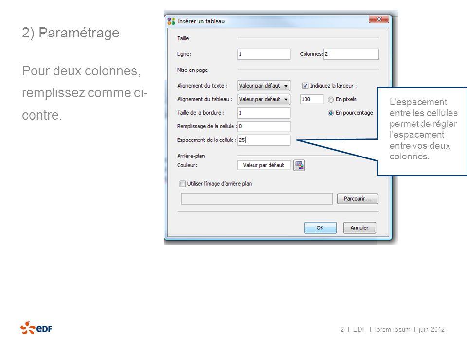 2 I EDF I lorem ipsum I juin 2012 2) Paramétrage Pour deux colonnes, remplissez comme ci- contre. Lespacement entre les cellules permet de régler lesp