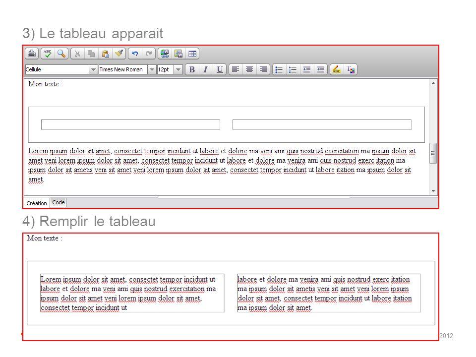 2 I EDF I lorem ipsum I juin 2012 3) Le tableau apparait 4) Remplir le tableau