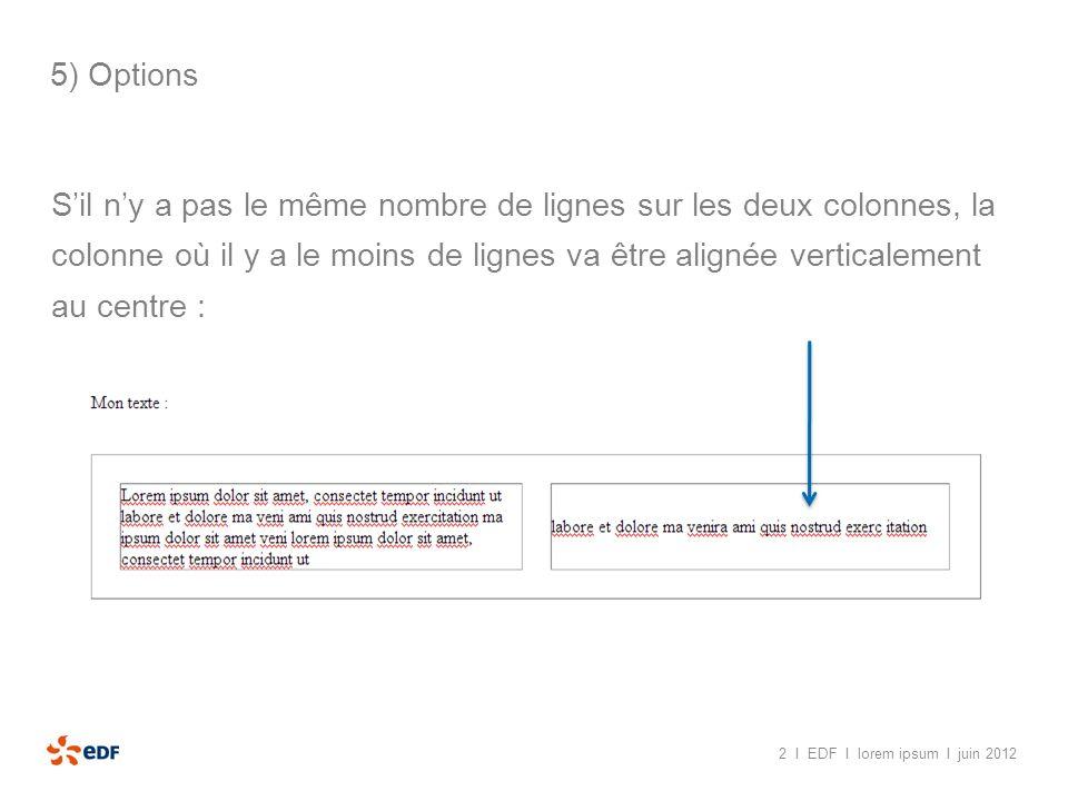2 I EDF I lorem ipsum I juin 2012 5) Options Solution : Accéder à longlet « code »