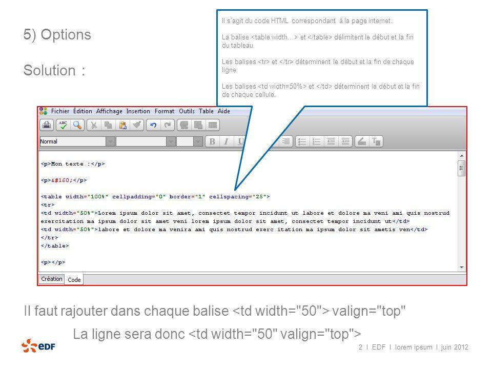 2 I EDF I lorem ipsum I juin 2012 5) Options Solution : Il sagit du code HTML correspondant à la page internet. La balise et délimitent le début et la
