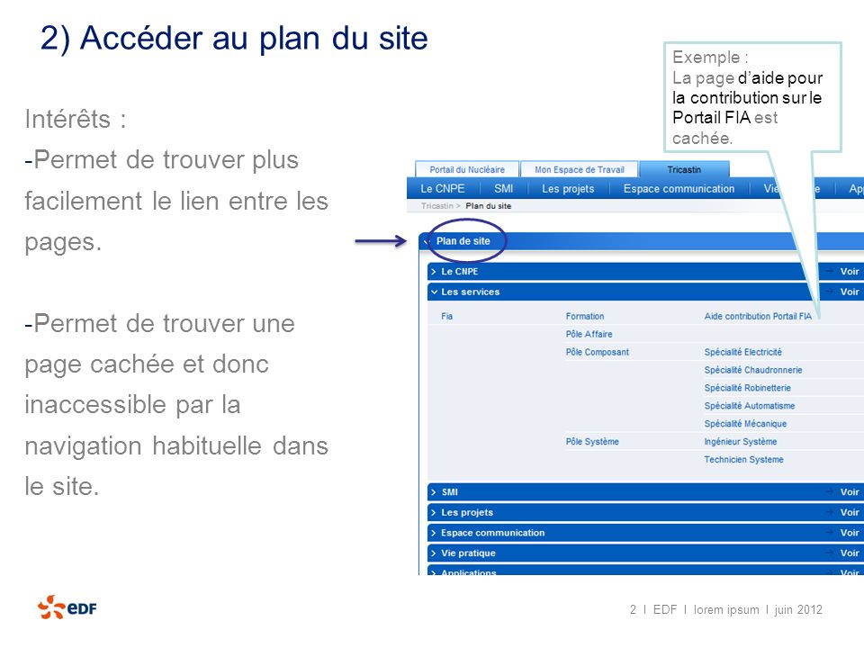 2) Accéder au plan du site 1) Aller sur une page du portail appartenant à longlet Tricastin 2 I EDF I lorem ipsum I juin 2012 2) Aller en bas de page et cliquez sur « Plan du site »