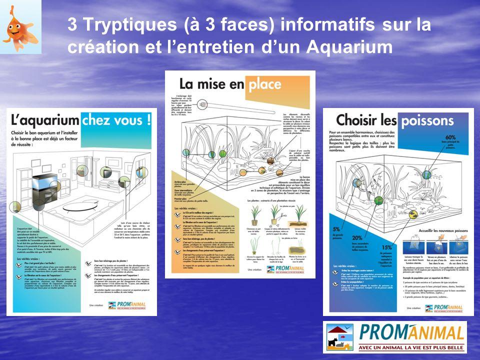 3 Tryptiques (à 3 faces) informatifs sur la création et lentretien dun Aquarium