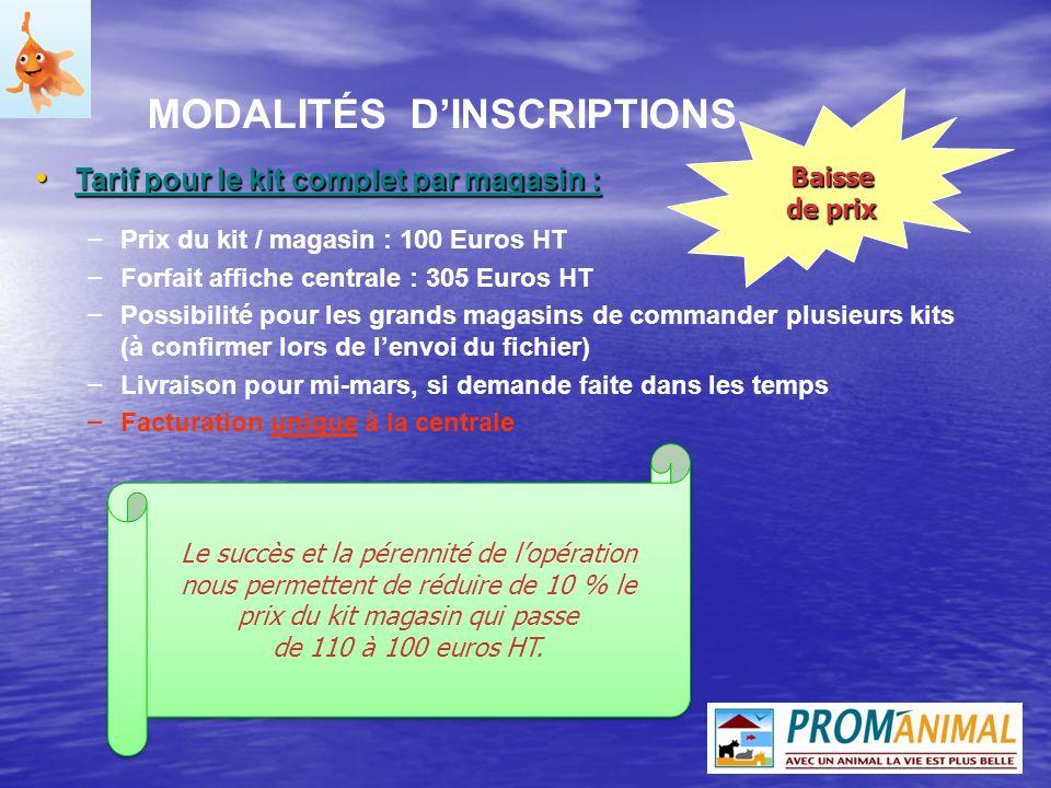 Tarif pour le kit complet par magasin : Tarif pour le kit complet par magasin : – Prix du kit / magasin : 100 Euros HT – Forfait affiche centrale : 30