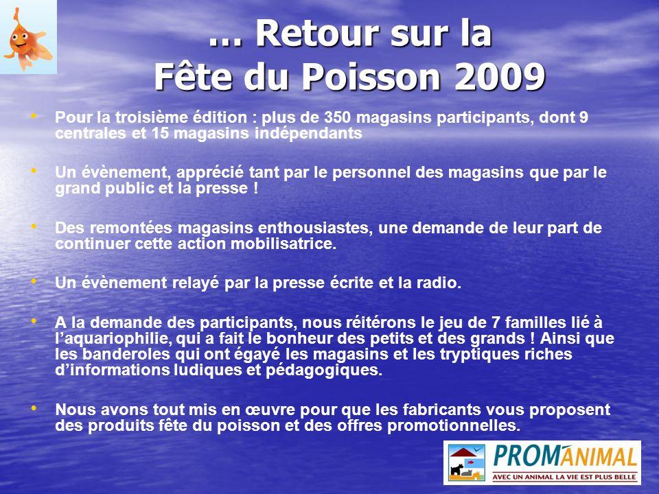 … Retour sur la Fête du Poisson 2009 Pour la troisième édition : plus de 350 magasins participants, dont 9 centrales et 15 magasins indépendants Un év