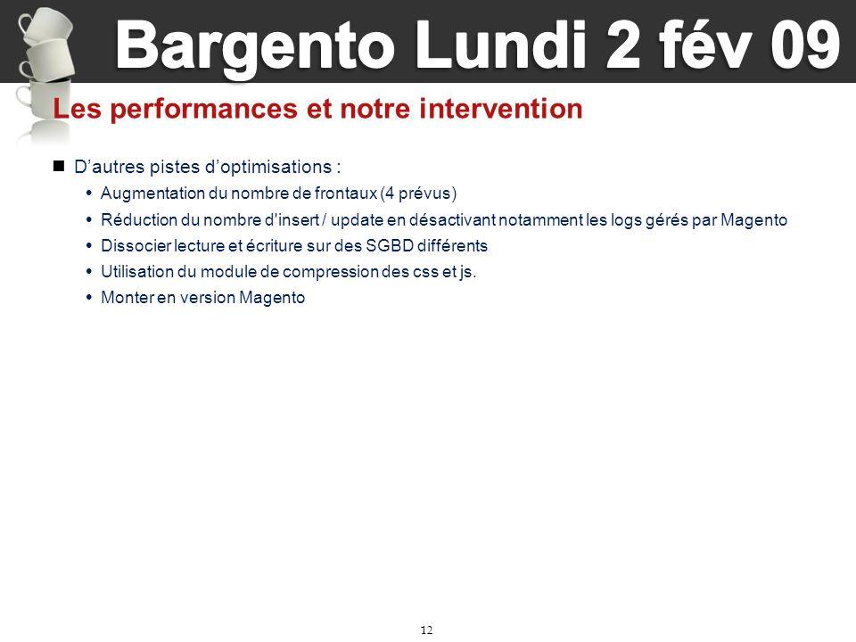 12 Les performances et notre intervention Dautres pistes doptimisations : Augmentation du nombre de frontaux (4 prévus) Réduction du nombre d'insert /