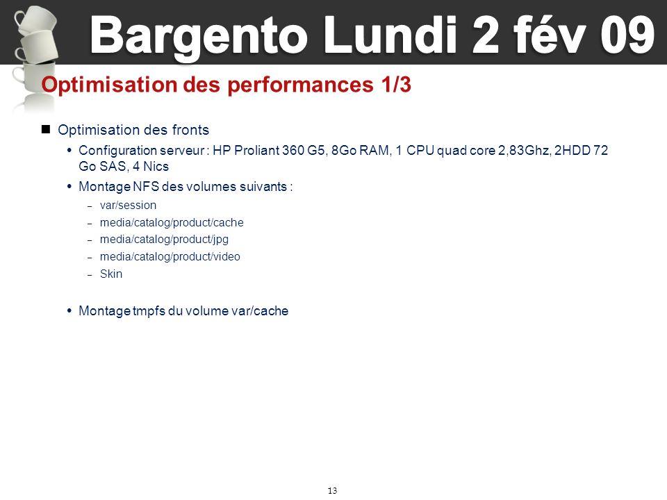 13 Optimisation des performances 1/3 Optimisation des fronts Configuration serveur : HP Proliant 360 G5, 8Go RAM, 1 CPU quad core 2,83Ghz, 2HDD 72 Go