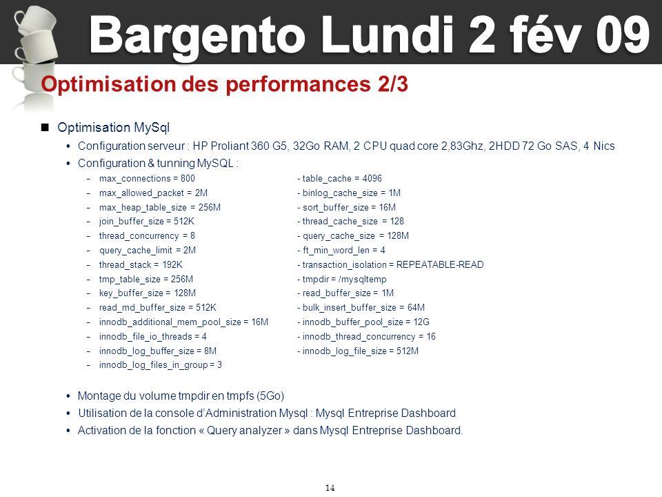 14 Optimisation des performances 2/3 Optimisation MySql Configuration serveur : HP Proliant 360 G5, 32Go RAM, 2 CPU quad core 2,83Ghz, 2HDD 72 Go SAS,